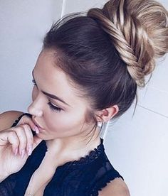 Classy, chic and sophisticated . @__susanka looks phenomenal ✨ in this romantic  lace braided bun. From prom queen  to a glowing bride , this updo is perfect  for starring in elegant and formal events. #NuMestyle #topknot