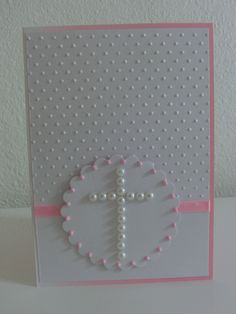 white on white with al little pink and pearls, Baptismcard for a girl More