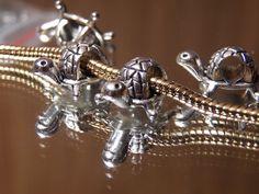 "Silver Turtle Hair Beard Bead or for Charm Bracelet 4.5mm 1/2"" Buy5-FreeShip #Spacer"