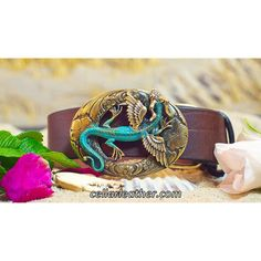Cellar Leather Big Dragon Belt with Solid Brass Buckle Handmade by Leathersmith Jeff Taylor