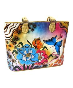 Another great find on #zulily! Yellow Hand-Painted Zebra Floral Leather Tote by Biacci #zulilyfinds