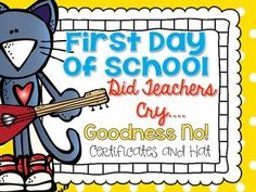 Cool Cat First Day of School Certificates and Hat {Kinder
