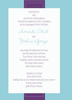 Purple/Teal Wedding Invitations