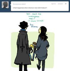 BBC Sherlock and CBS Sherlock meet? -uncomfortable twitching-