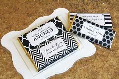 Personalized Candy Bar Wrappers from Sweet Paper Shop | Modern Stripes, Mod Chevron, Honeycomb and Moroccan Trellis Patterns featured in Black and White with Gold foil | Choose your words and colors | Printed on shimmer paper. Foils included.