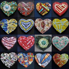art, mosaics, hearts