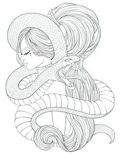 Adult Coloring page with snake and beautiful woman. Pdf file of digital coloring page Ready to print. Snake Coloring Pages, Adult Coloring Book Pages, Printable Adult Coloring Pages, Coloring Pages For Girls, Coloring Books, People Coloring Pages, Colouring, Drawing Cartoon Characters, Character Drawing