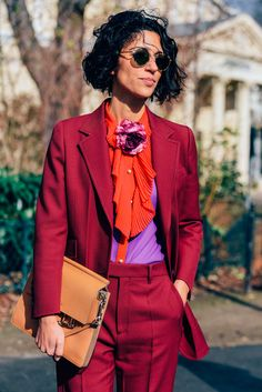 colorfulColors redColors orangeColors maroonColors purpleColors tanColors silkMaterial blazerOuterwear buttonUpTop slacksBottom funkyStyle bright colorful funky pant suit ruffles