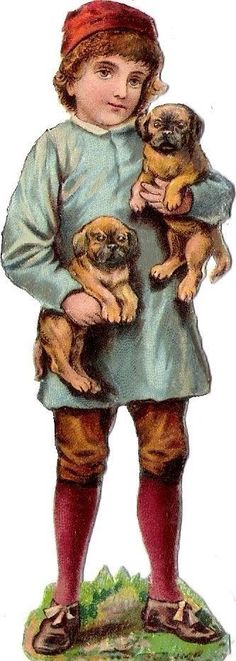 Oblaten Glanzbild scrap die cut chromo Kind child enfant  Hund dog chien puppy