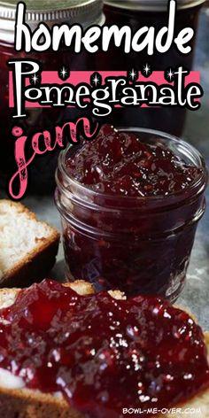 Pomegranate Jam No Pectin, Pomegranate Jelly, Pomegranate Recipes, Jelly Recipes, Jam Recipes, Canning Recipes, Cookie Recipes, Canning Syrup, Jam Maker