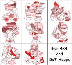 """""""Redwork Sunbonnet Set 2"""" Not to be outdone by the girls, these cute #MachineRedWork sunbonnet boys are ready to come out and play on quilts, garments and more!"""