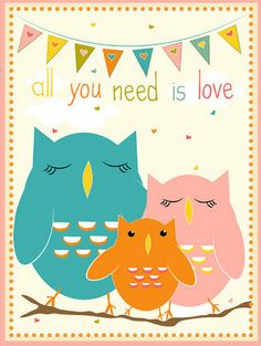 'All You Need Is Love' Owls Giclée Print