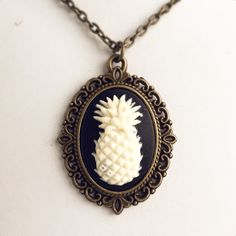 Pineapple Cameo Necklace / Antique Brass Bronze Pick Your Length / Tropical Fruit Lover Gift / Bohemian Wedding Gypsy Steampunk Boho by lydiasvintage on Etsy https://www.etsy.com/listing/386509468/pineapple-cameo-necklace-antique-brass