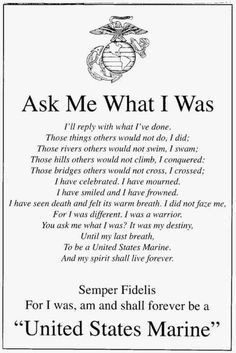 Discover and share Proud Of My Marine Quotes. Explore our collection of motivational and famous quotes by authors you know and love. Marine Corps Quotes, Marine Corps Humor, Usmc Quotes, Military Quotes, Military Humor, Military Love, Us Marine Corps, Military Terms, Marine Corps Tattoos