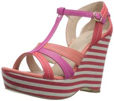 Wanted #Shoes Women's Pink Striped Maitai Wedge Sandal: Women's #Fashion #Wedges