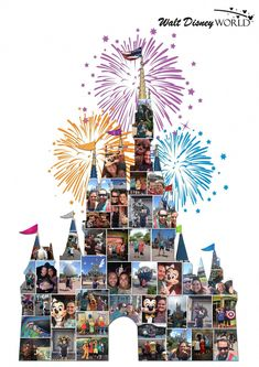 Disney photo collage - Cinderella's castle Wall Art Poster Print Fine Art Digital Gift Ideas Disney Castle Collage Fireworks<br> Personal collages, Disney character collage to bespoke family holiday collages. Disney Diy, Disney Home Decor, Disney Crafts, Walt Disney, Cinderella Disney, Cinderella Castle, Disney Collage, Disney Wall Art, Disney Kids Rooms