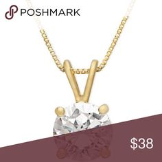18k Gold Clear CZ over Sterling Silver Necklace 18k Gold Clear Cubic Zirconia over Sterling Silver Pendant Necklace.  Cubic Zirconia is approx 1 ct tw. Giani Bernini Jewelry Necklaces