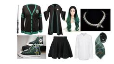 """""""Slytherin House Uniform"""" by jay-cee-23 on Polyvore featuring Equipment and Converse"""