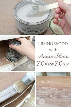 Best tutorial on How Annie Sloan White Wax can be used on raw wood This creates the most amazing limed wood effect Salvaged Inspirations