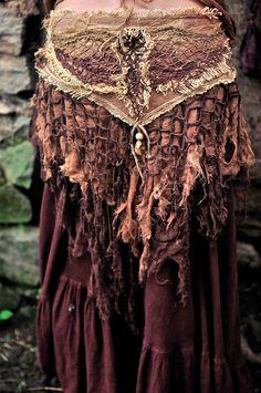 Earthy Magic Unique Belt   Brown Fairy Fantasy Natural Forest Boho cotton crochet Adjustable via Etsy