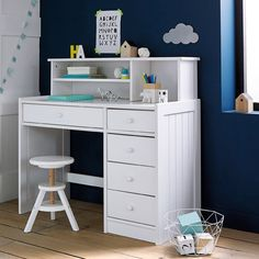 Gaby Solid Pine Desk LA REDOUTE INTERIEURS The Gaby solid pine desk is contemporary and functional, working well in any interior. Pine Furniture, Furniture Logo, Furniture Outlet, Bedroom Furniture, Desk For Girls Room, Girls White Desk, White Desks, Pine Desk, Study Table Designs
