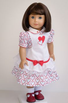 Apron Dress for Valentines-American Girl