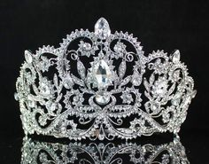 Janefashions Victorian Clear White Austrian Rhinestone Crystal Tiara Crown with Hair Combs Princess Queen Headband Headpiece Jewelry Beauty Contest Birthday Bridal Prom Pageant Silver (Clear) Headpiece Jewelry, Head Jewelry, Jewelry Sets, Jewlery, Bridal Jewelry, Pageant Crowns, Tiaras And Crowns, Rose Gold Accessories, Bridal Accessories