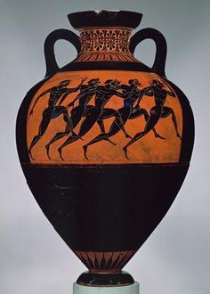 Circa 600 B.C. vase reflects the Corinthian art period that often was decorated with silhouettes and abstract designs. Black figure pottery is most recognizable style of Greek pottery that reflected the facial features, clothing, and weapons used. This Panathenaic vase was probably filled with sacred olive oil and awarded to a winner in the Panathenaic games that were held in Athens every four years. The standard size was one metretes, the primary liquid measure of the ancient Greeks. (42…