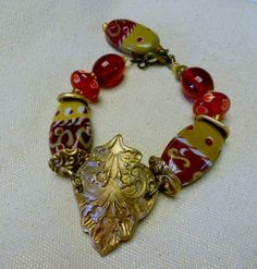Handcrafted Bronze PMC Bracelet with Gold & Red by wpcardenas, $59.99