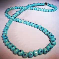Wooden swarovski necklace (elastic) one size fits all! 4 wraps #turquoise #necklace #swarovski #crystals #divalenciaglam #handmade #bling #jewelry #girlstuff #musthaves