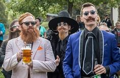Contestants of the World Beard And Mustache Championships pose for a picture during the opening ceremony of the Championships 2015