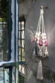 Macrame plant hanger Wooden White. Pot holder.