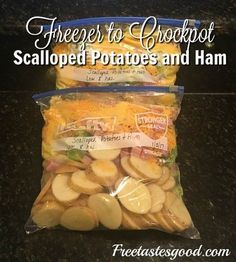 Freezer Meals - Easy Freezer to Crockpot Scalloped Potatoes and Ham - plus this . Freezer Meals - Easy Freezer to Crockpot Scalloped Potatoes and Ham - plus this is a very healthy meal and it makes 2 dinners :) meals Make Ahead Freezer Meals, Crock Pot Freezer, Dump Meals, Freezer Cooking, Crock Pot Cooking, Easy Meals, Crock Pot Sausage, Meal Prep Freezer, Freezer Dinner