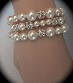 Rhinestone and pearl bracelet // 3 strands // by QueenMeJewelryLLC, $69.99