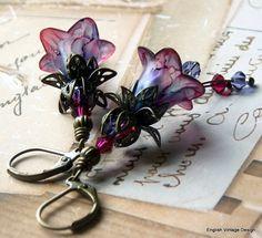 Lucite Earrings Flower Earrings 'Fading by EnglishVintageDesign