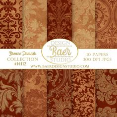 "These bronze, copper and gold damask digital paper are rich in color and texture.  Download at home and print on the paper of your choice.  Follow the ""visit"" button for all the details!"