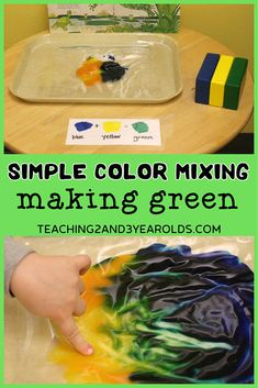 Put together a simple preschool color mixing activity that uses paint that is sealed in a plastic bag. This is a great sensory experience as the fingers press on the bag to move the paint around, making a new color. Hands-on fun! #colors #mixing #science #learning #toddlers #preschool #activity #sensory #paint #teaching2and3yearolds Preschool Color Activities, Sensory Activities, Mix Blue And Yellow, Science Table, Time Planner, Sensory Experience, Finger Painting, Yellow Painting, Simple Colors
