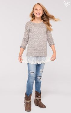 Soft sweaters with lace hems + distressed jeans and boots = an oh-so cool look for when days get chilly.