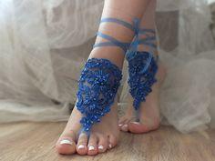 blue Beach wedding barefoot sandals, Lariat lace sandals,  blue barefoot sandals
