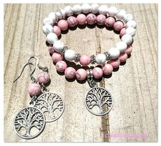 Check out this item in my Etsy shop https://www.etsy.com/au/listing/476111124/tree-of-life-bracelet-and-earrings-pink