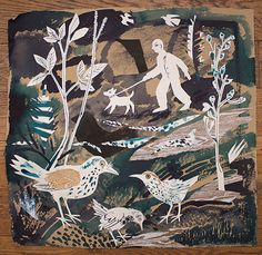 """""""A Walk in the Park"""" by Mark Hearld (New work to be exhibited at York Open Studios: & 19 April and 25 & 26 April Collage Illustration, Illustrations Posters, Nature Illustrations, Art In The Park, Glasgow School Of Art, Collage Art Mixed Media, Unique Paintings, Royal College Of Art, Linocut Prints"""