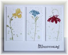 handmade card ... clean and simple design ... three panels .... three different flowers ... luv the look of watercolor in the flowers ... Hero Arts ...