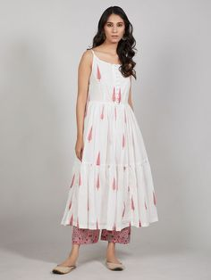 Buy Off White Pink Hand Block Printed Mulmul Kurta with Palazzo – Set of 2 onlin… Printed Kurti Designs, Simple Kurti Designs, Kurta Designs Women, Blouse Designs, New Kurti Designs, Churidar Designs, Western Dresses For Women, Frock For Women, Indian Designer Outfits