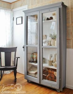 """Repurposed windows turned into an """"Antique"""" Cupboard ~~via Knick of Time"""
