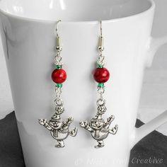 Dangle Earrings Dancing Snowmen Silver, Red Magnesite, Green Glass Beaded £6.00