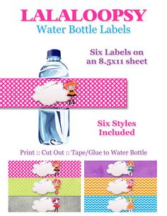 Lalaloopsy Birthday Party Water Bottle Labels - DIY, Printable, Instant Download - Decorations, Peanut Big Top, Bea Spells-a-Lot,