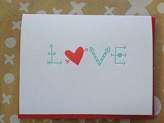 Love Card - Letterpress Valentine Card - Arrows and Hearts Valentine. $5.00, via Etsy.