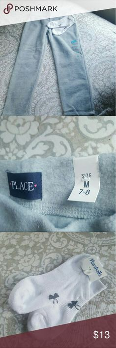 Children's Place pants & Under Armour Great bundle full of great savings .. The Children's Place cozy grey fleece super soft pants waist is elastic size M 7/8 and a pair of brand new ankle socks by Under armour  Both have tags girls bundle! Children's Place Bottoms Sweatpants & Joggers