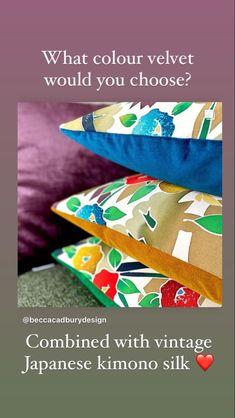 Textile Design, Floral Design, Luxury Cushions, Vintage Kimono, Cotton Velvet, Japanese Kimono, Sofa Chair, Vintage Japanese, Becca