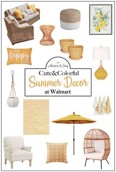 Looking for fun and and colorful ways to decorate for summer? This fresh and cheerful summer decor at Walmart will bring in the sunshine! Sunshine-y summer decorating ideas ---> #maisondecinq summerdecor summerdecorating walmart walmarthome outdoordecor patiofurniture outdoorfurniture Small House Decorating, Summer Decorating, Decorating Ideas, Decor Ideas, French Farmhouse Decor, French Country Decorating, Summer Diy, Summer Ideas, Home Decor Inspiration